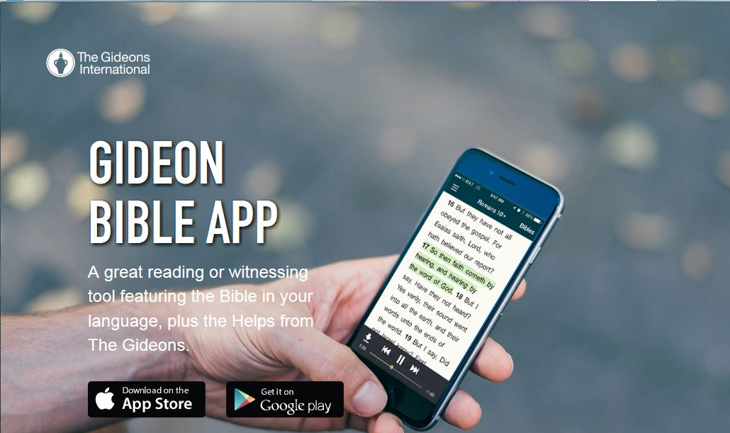 Gideon Bible App available via iTunes or GooglePlay