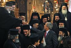 Bush with Greek Orthodox Patriarch and priests