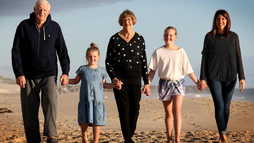 Margaret Court with husband Barry, daughter Marika and grandchildren Daisy and Jemima